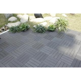 Bamboo 4-Slat Composite Deck Tiles (Set of 11)