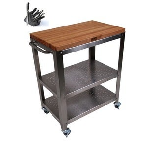 John Boos CHY-CU-CULART30 Cucina Cherry 30 x 20 Cart with Removable Top and Henckels 13-piece Knife Block Set