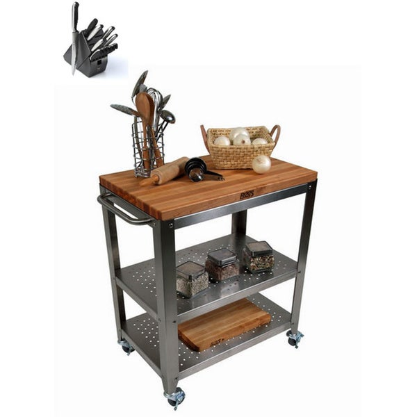 John Boos Cucina Culinarte Kitchen Cart with J. A. Henckels 13 ...