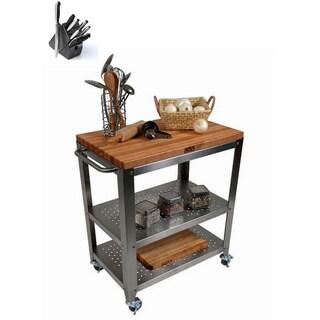 John Boos Cucina Culinarte Kitchen Cart With J. A. Henckels 13 Piece Knife  Block Set