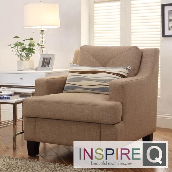 Inspire Q Middleton Camel Linen Tufted Sloped Arm Chair