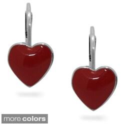 Junior Jewels Silvertone Children's Enamel Heart Earrings