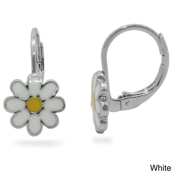 Junior Jewels Silvertone Children's Enamel Daisy Leverback Earrings