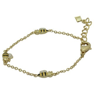 Junior Jewels 18k Gold Overlay Children's Enamel Bumble Bee Bracelet