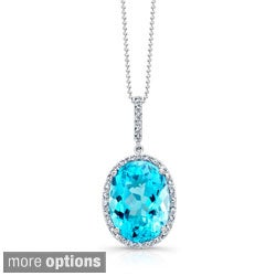 Sterling Silver Gemstone and 1/6ct TDW Diamond Necklace (J-K, I2-I3)