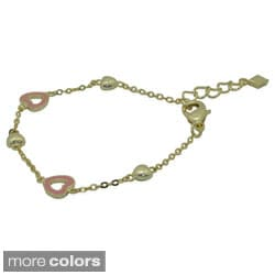 Junior Jewels 18k Gold Overlay Enamel Open Heart Bracelet