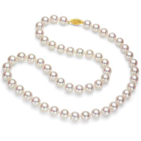 DaVonna 18k Gold White Round High Luster Akoya Pearl Necklace (7.5-8 mm)