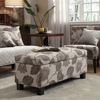 Sauganash Grey Floral Lift Top Storage Bench by INSPIRE Q