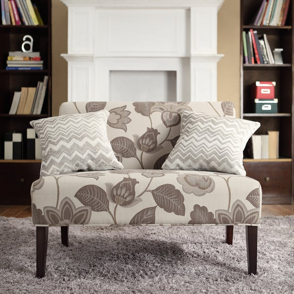 inspire q wicker park grey floral armless loveseat