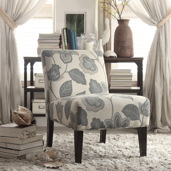 Peterson Teal Floral Accent Slipper Chair By INSPIRE Q Bold