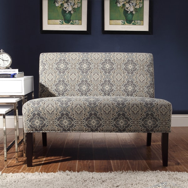 Wicker Park Blue Damask Armless Loveseat by INSPIRE Q