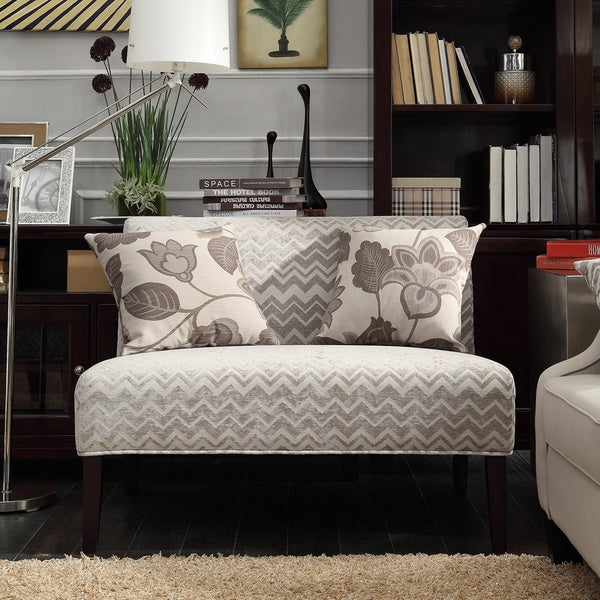 Wicker Park Grey Chevron Armless Loveseat