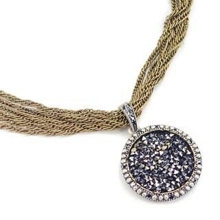Sweet Romance Druzy Pyrite Cystal Silver Pendant Necklace