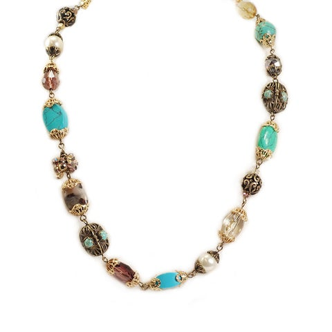 Sweet RomanceTurquoise Pearl and Crystal Bronze Necklace