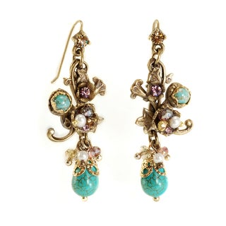 Sweet Romance Turquoise Pearls and Beads Morning Glory Earrings
