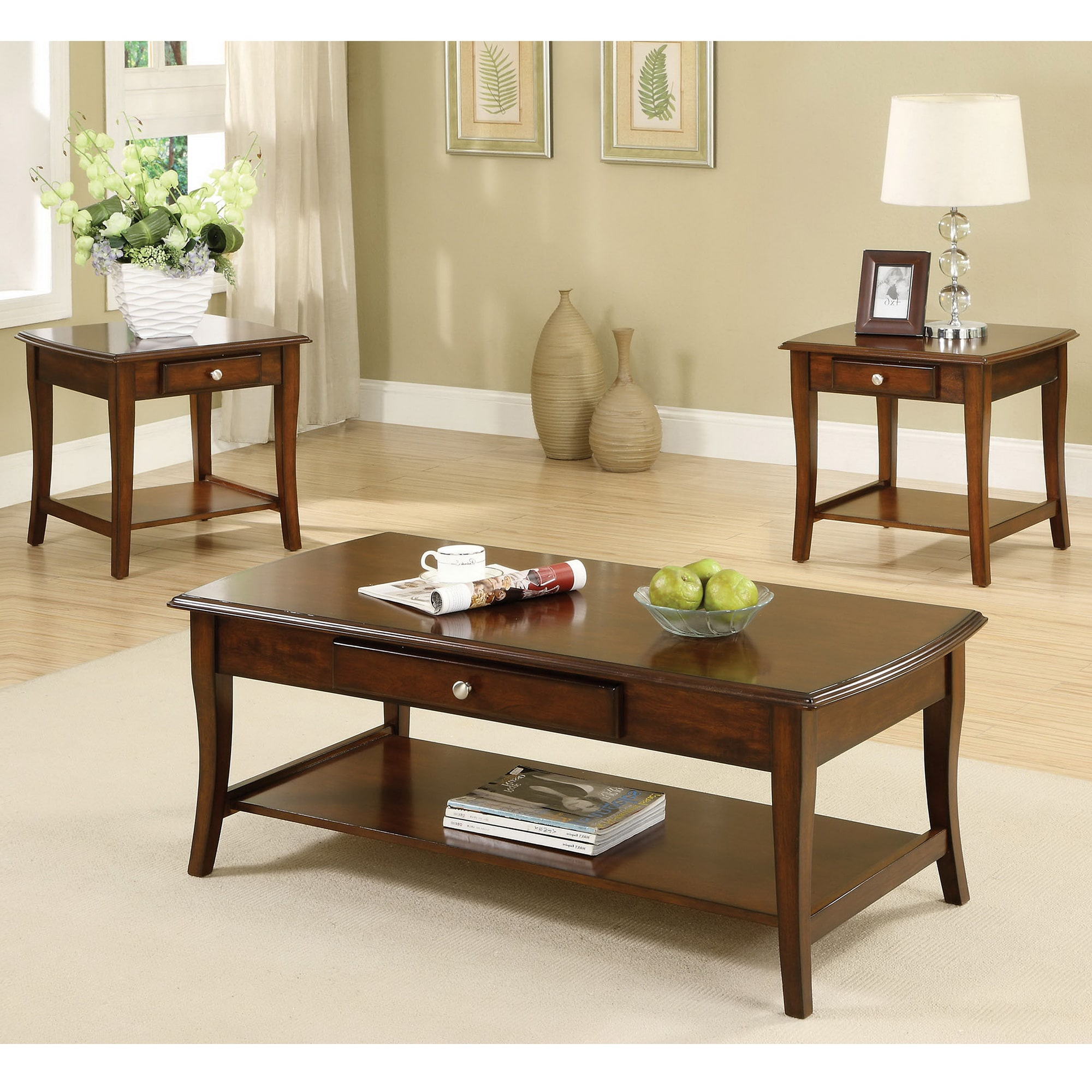 Furniture Of America Sova Casual Oak 3 Piece Coffee And End Table Set