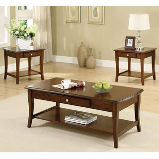 Furniture of America Nashey 3-piece Casual Dark Oak Finish Coffee End Table Set