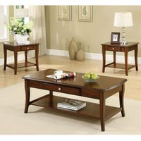 Furniture of America Nashey 3-piece Casual Dark Oak Finish Coffee End Table Set