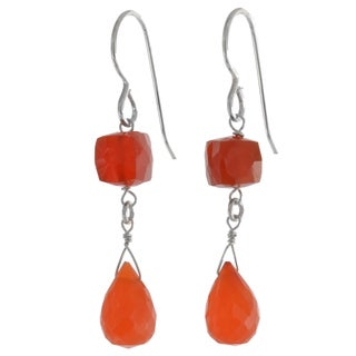 Ashanti Silver Carnelian Briolette Earrings (Sri Lanka)