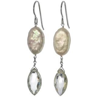 Handmade Ashanti Silver Mint Green Amethyst Briolette and FW Coin Pearl Earrings (Sri Lanka)