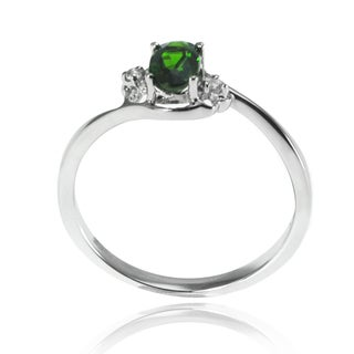 De Buman Sterling Genuine Silver Chrome Diopside and White Topaz Ring