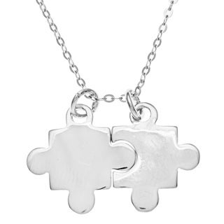 La Preciosa Sterling Silver Two Puzzle Piece for Autism Pendant