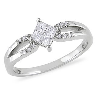 Miadora 10k White Gold 1/4ct TDW Princess Composite Diamond Ring