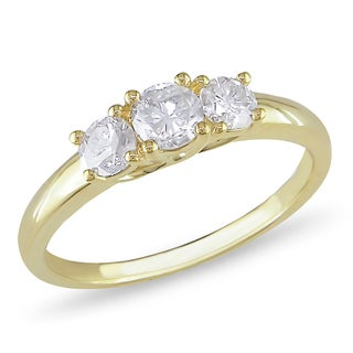 Miadora 10k Yellow Gold 3/4ct TDW Diamond Three Stone Ring