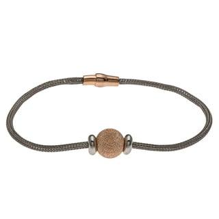La Preciosa Rose Goldplated Silver Bead and Mesh Magnetic Cape Cod Bracelet