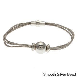 La Preciosa Sterling Silver Bead Charm and Mesh Cape Cod Bracelet