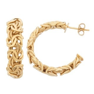 Gioelli 14k Yellow Gold Byzantine Hoop Earrings
