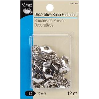 "Decorative Snap Fasteners 5/8"" 12/Pkg-Nickel -Hexagon"