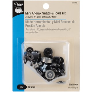 "Mini Anorak Snaps & Tools 5/32"" 10 Sets-Black Oxy"