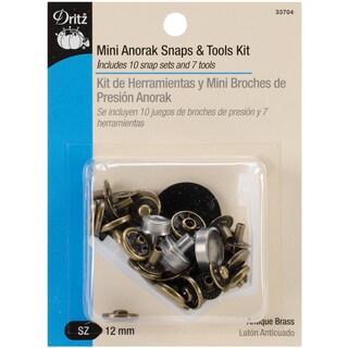 "Mini Anorak Snaps & Tools 5/32"" 10 Sets-Antique Brass"