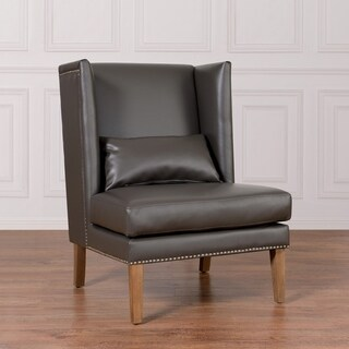 Chelsea Grey Leather Wing Chair