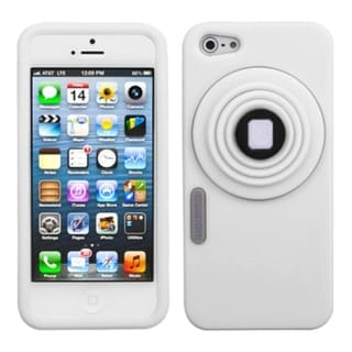 INSTEN White Camera Style Pastel Skin Stand Phone Case for Apple iPhone 5/ 5S/ SE