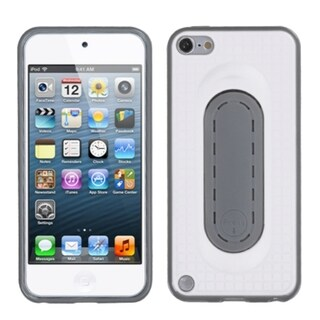 Insten White/ Gray Checker TPU Rubber Candy Skin Case Cover with Stand For Apple iPod Touch 5th/ 6th Gen