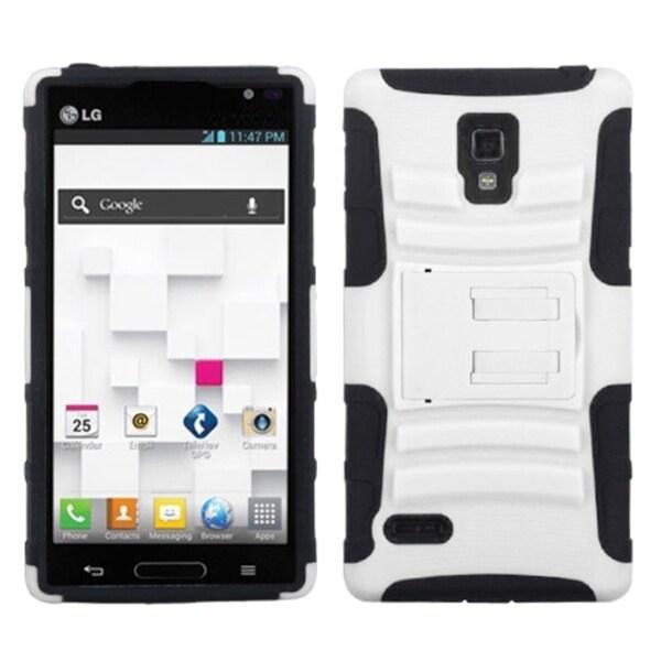 INSTEN White/ Black Advanced Armor Stand Phone Case Cover for LG Optimus L9 P769
