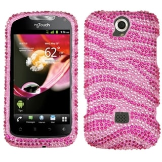 INSTEN Pink/ Hot Pink Zebra Diamante Phone Case Cover for Huawei U8730 myTouch Q