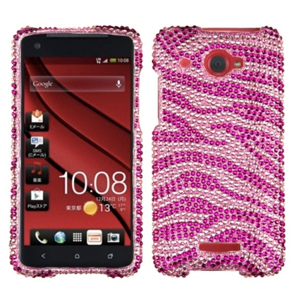INSTEN Pink/ Hot Pink Zebra Diamante Phone Case Cover for HTC Droid DNA