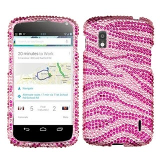 INSTEN Pink/ Hot Pink Zebra Diamante Phone Case Cover for LG E960 Nexus 4
