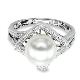 DaVonna 14k White Gold White Round Akoya Pearl Illusion Ring (9-9.5 mm)