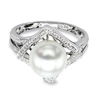 DaVonna 14k White Gold 9-9.5 mm White Round Akoya Pearl Illusion Ring (More options available)