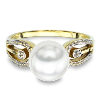 DaVonna 14k Yellow Gold White Round Akoya Pearl Illusion Ring (9-10 mm)