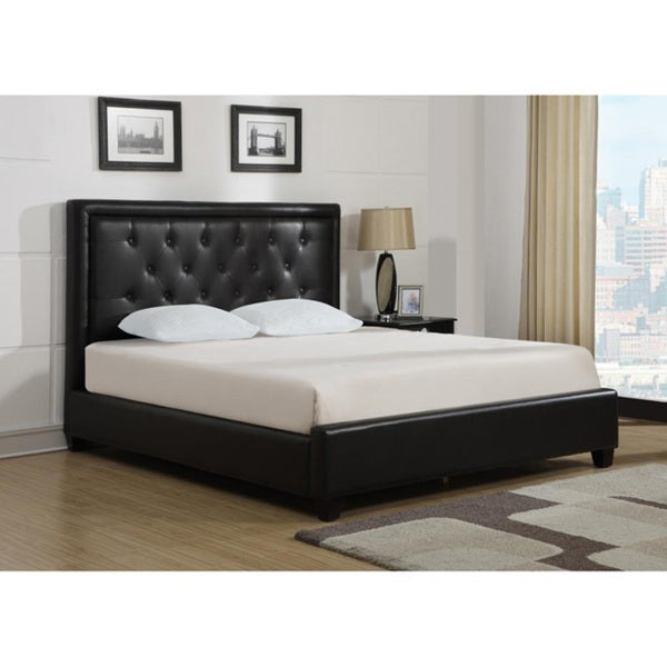 Bonded Leather Wood Slat California King-size Platform Bed