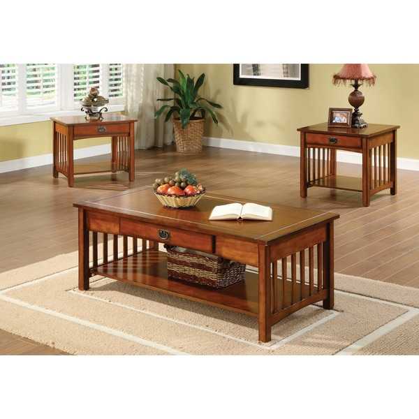 Furniture Of America Nash Mission Style 3 Piece Antique Oak Finish Coffee End Table Set Free