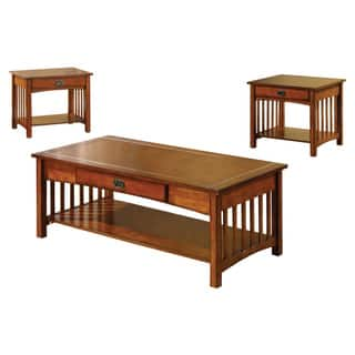 Furniture Of America Nash Mission Style 3 Piece Antique Oak Finish Coffee End Table