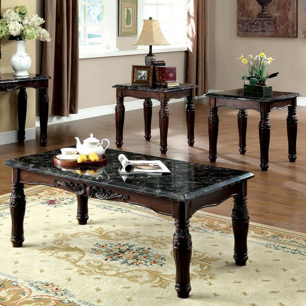Furniture of America Saxton 3-piece Faux Marble Top Coffee/ End Table Set & Furniture of America Saxton 3-piece Faux Marble Top Coffee/ End ...