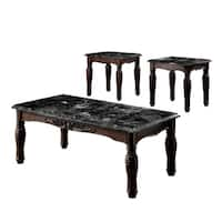 Furniture of America Saxton 3-piece Faux Marble Top Coffee/ End Table Set