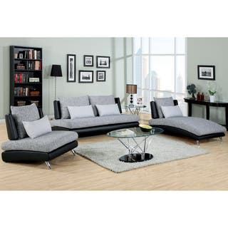 furniture of america kanchy contemporary 3 piece 2 tone fabric leatherette sofa set - Contemporary Living Room Furniture